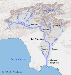 USGS Topo of LA River watershed from Wikipedia. Public domain