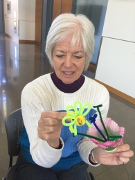 Neighbor Sherry McConnell crafting anatomically correct bee and flower props for my bee talk at Conservation District Earth Day event. So grateful for her skills!