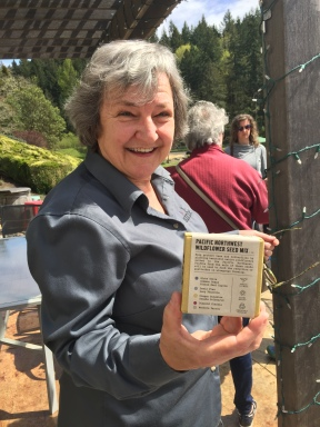 Airlie winery owner Mary Olson showing off her Buzz Box with bee-friendly native plant seeds. Agricultural land is heaven for bees if pesticides use is controlled properly